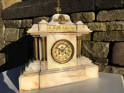 Large Antique Alabaster Slate Japy Freres French Mantle Clock Collect Lancashire