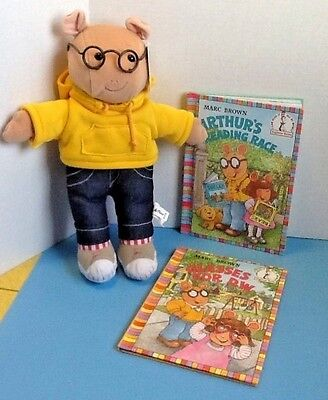 """Arthur 14"""" Stuffed Animal Plush Doll and 2 Books by Marc Brown - NEW"""