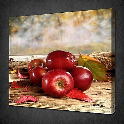 Red Apples Autumn Vintage Kitchen Canvas Wall Art Picture Print Ready To Hang