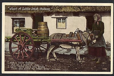 """IRELAND = """"Just a little Irish Colleen`, Delivery Cart. RP type. c.1930. Unused"""