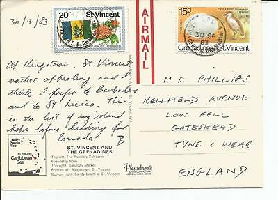 Postcard Of Stvincent And The Grenadines, Caribbean Island, Posted, 2 Stamps
