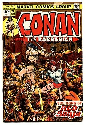 CONAN THE BARBARIAN #24 comic book 1973-MARVEL COMICS-FIRST FULL RED SONJA