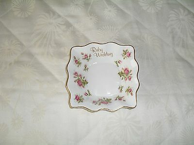 Queens Fine Bone China Fluted Edge Dish. Ruby Wedding.  Used Condition.