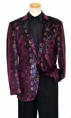 Men's New Pronti by Phita Purple Snakeskin Print Fashion Blazer Jacket B6196