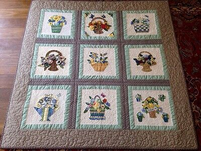 Beautifully Handmade Appliqued & Embellished Nine Patch  Patchwork Quilt