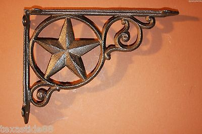"(14)Pcs, Texas Lone Star Shelf Brackets, Cast Iron Western Shelf Decor,9"", B-19"
