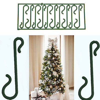 10X Small Green Christmas Ornament Tree Hook Decoration Hanger Wire XV