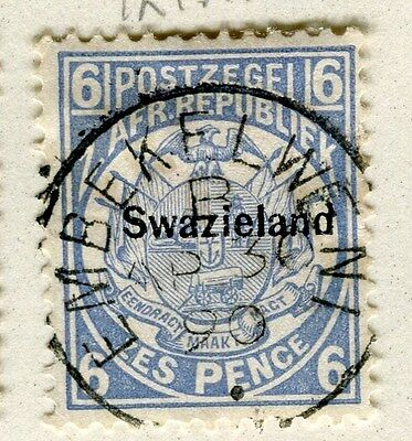 SWAZILAND;  1890s early QV SWAZIELAND Optd. issue fine used 6d. value Postmark