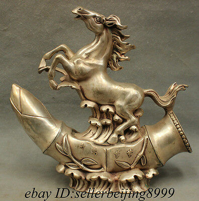 "11"" Folk Chinese FengShui Zodiac Silver Year Up Horse Statue On Bamboo Sculpture"