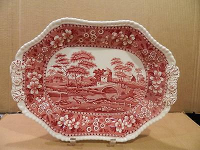 """""""Copeland Spode's Tower"""" Red Tureen Underplate or Serving Platter Old Mark"""