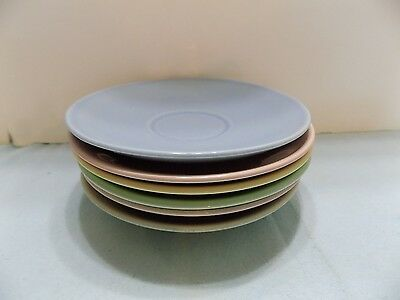"Luray Paste  6 SAUCERS  6""  PINK  BLUE  GREEN YELLOW (R4-2)"