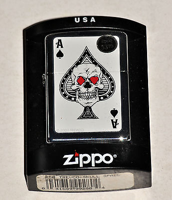 ZIPPO -  ACES OF SPADES SKULL LIGHTER  - NEW  unfired LAS VEGAS GAMBLING poker