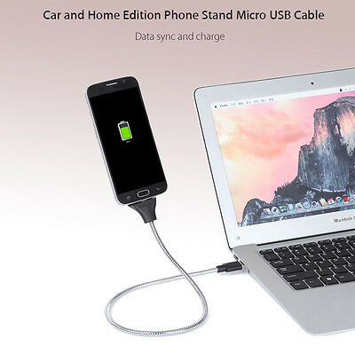 Twister Phone Charger Dock Tripod Phone Stand Micro Usb Cable Car/home Silver