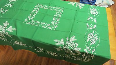 """Vintage  Christmas Green Linen Table Cloth White Flocking 48"""" Square"""