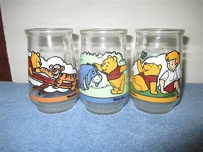 Vintage 'Welch's Winnie the Pooh's Grand Adventure Jelly Jar Glasses No.2,4,6