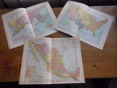 1890 Fisk & Company Map Lot 3 Pcs Mexico Canada & Us Acquistion Of Territory
