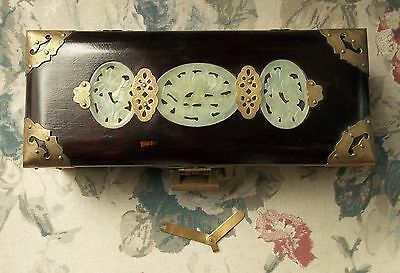 CHINESE Rosewood JEWEL Music BOX JADE MEDALLIONS Ornate Brass Lock & Key