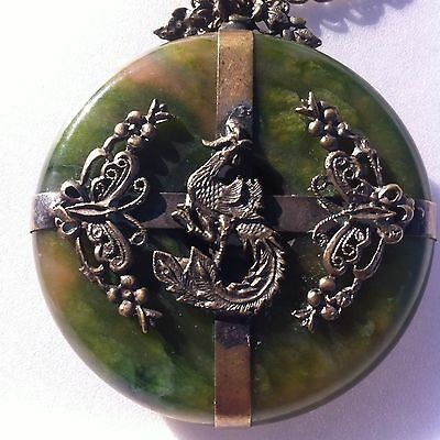 Metal Peacock-Dragon Butterfly And Jade Donut Disk  Pendant