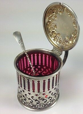 Superb Antique Wilcox Silver Co Sterling Silver 1880's Salt Cellar And Spoon