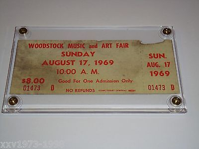 WOODSTOCK 1969 AUTHENTIC SUNDAY TICKET LUCITE CASE JIMI HENDRIX Johnny Winter