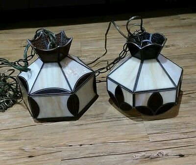 Vintage Tiffany Style Miniature Swag Light Fixtures Set Of  2
