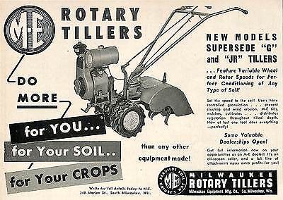 1951 Milwaukee Rotary Tiller Model G & Jr Ad Milwaukee Wi Wisconsin