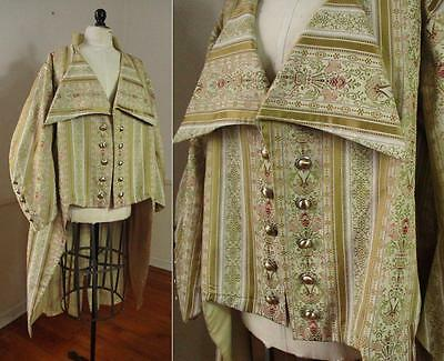 "FANTASTIC Vtg Reproduction STEAMPUNK Renaissance TAPESTRY Jacket Tails 65"" Chest"
