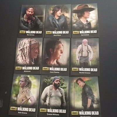 Cryptozoic 2016 WALKING DEAD Season 4 PART 1 Character Bio 9 Card Set