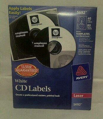 Avery 5692 Laser White CD/DVD Labels Pack Of 40 Labels - 80 Spine Labels.