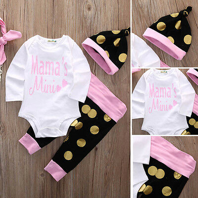 Toddler Infant Newborn Baby Girls Romper+Pants Jumpsuit Bodysuit Clothes Outfits