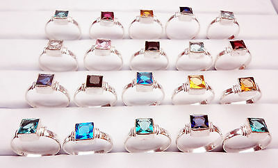 """Christmas Gift Mix Gemstone 20Pc 925 Sterling Silver Overlay Child Ring 4-6.5"""""""