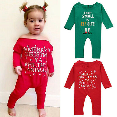 US STOCK Christmas Kids Infant Baby Girl Bodysuit Romper Jumpsuit Clothes Outfit
