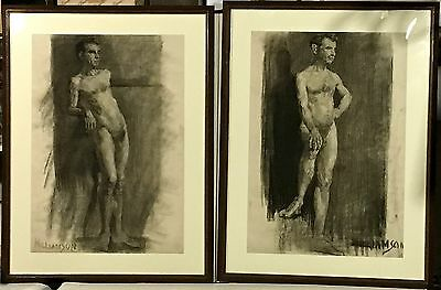Pair CHARCOAL SKETCH DRAWINGS Male Nude Signed WILLIAMSON
