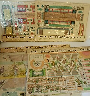 4 Pellerin Imagerie D'Epinal construction model lot train trolley circus animal