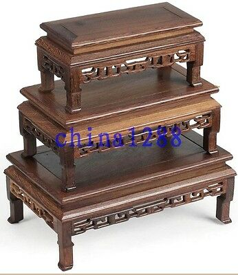 3Pc Unique Suiseki Display*rosewood*carved For Vase&bonsai Table