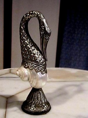 Mother of Pearl & Silver (?) Hand Crafted NAUTILUS SHELL SWAN