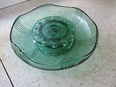 Emerald Green Depression Glass FLOAT  BOWL and frog..