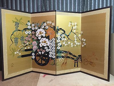 VTG Japanese Chinese 4 Panel Folding Screen Byobu Painted 66x36 FLOWER CART GOLD