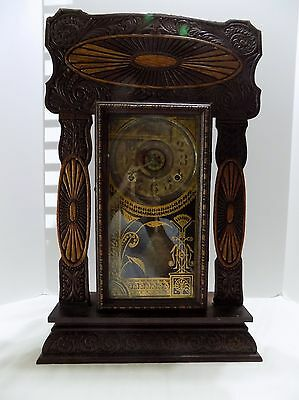 Ingraham Kitchen Clock  Gingerbread Carved Wood  Walnut Key  Not Running (Rx-12)