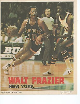 1969 Topps Walt Clyde Frazier Basketball Poster - vintage New York Knicks