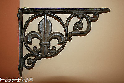 "(4)pcs, CAST IRON DECORATIVE FLEUR DE LIS SHELF BRACKETS, FLEUR DE LIS, 9"",B-3"