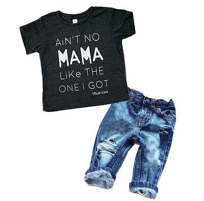 Toddler Kids Baby Boys Clothes T Shirt Tee Top +Denim Pants Outfits Set US STOCK
