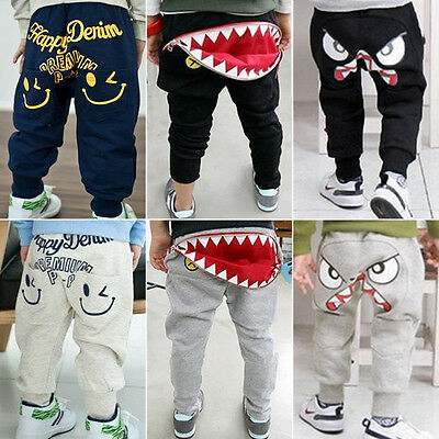 Kids Boys Clothes Harem Pants Animal Straight Cotton Casual Long Trousers 2-9Y