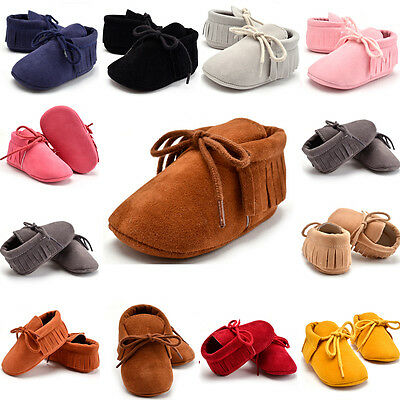 Newborn Infant Baby Boy Girl Soft Sole Boots Toddler Tassels Moccasin Crib Shoes