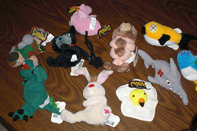 10 MEANIES from animal beanbag series with tags 1998 TOPCAT