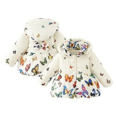 Toddler Baby Girls Butterfly Coat Kids Winter Warm Cotton Jacket Outerwear 0-24M