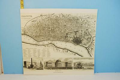Vintage Calcutta India Black & White Map Litho by George Cox 1852 Repro