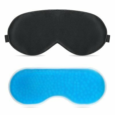 PLEMO Sleep Eye Mask Set with Gel Pack Shade  Cool / Warm Therapy for Travel