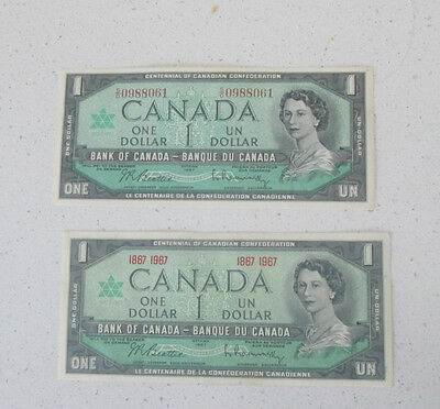 2  X  1967 Canada  Bank  Notes  Unc   2 Notes