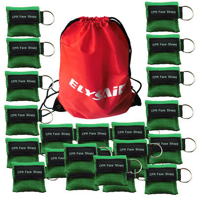 Lot/100pcs CPR Mask Face Shield With Keychain For First Aid Training Green